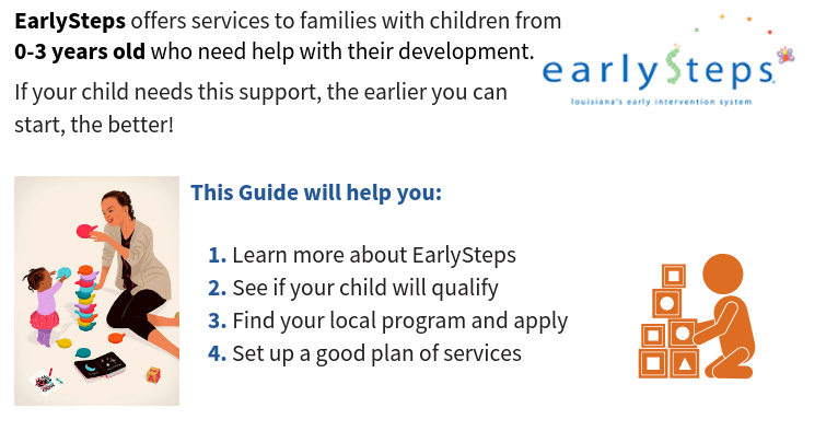 Image of the EarlySteps logo beside the text 'EarlySteps offers services to families with children from 0-3 years old who need help with their development. If your child needs his support the earlier you can start, the better. This guide will help you: 1.Learn more about EarlySteps, 2.See if your child qualifies, 3.Find your local program and apply, Set up a good plan of services.'